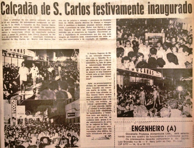 Jornal conta a inauguração do Calçadão